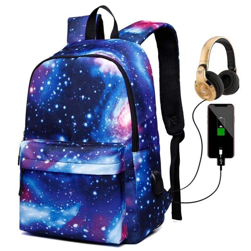 Women School Backpacks USB Charging Canvas Backpack Bags for Teenagers Boy Girls Large Capacity Travel Men