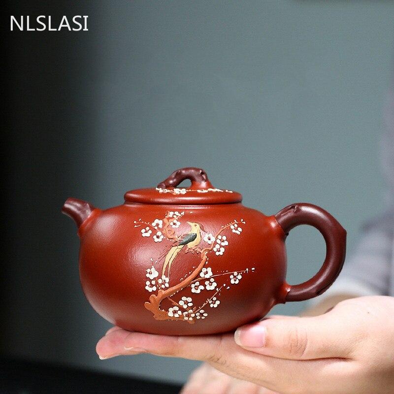 Yixing الراقي أواني الشاي الأرجواني الطين إبريق الشاي الخام خام Dahongpao زهر البرقوق غلاية اليدوية بوتيك طقم شاي هدية صديق 290 مللي