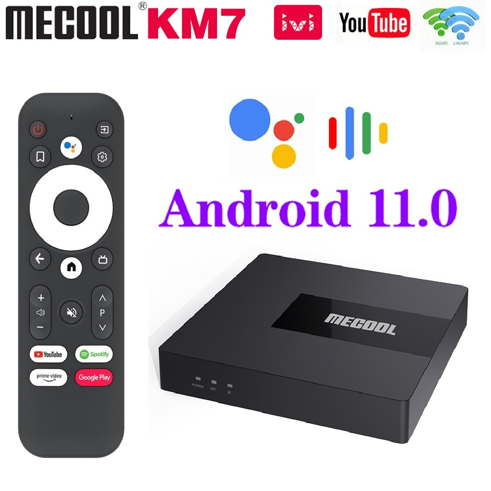 Global Mecool KM7 Google Certified TV Box Android 11 ATV 4GB 64GB DDR4 Amlogic S905Y4 Androidtv WiFi