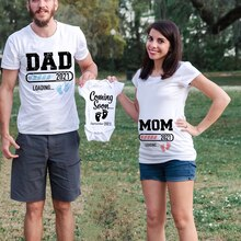 2021 New Cute Dad +Mom+ Baby Printed Family T-Shirt Baby Coming Soon Pregnancy Announcement Tshirts