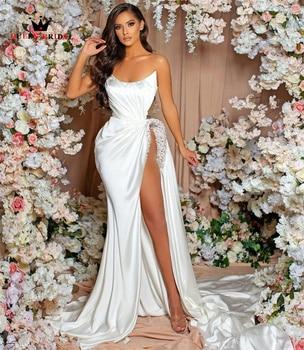 Sexy Mermaid Satin Wedding Dresses with Slit Leg Appliques Crystal Beaded Bridal Gown 2022 New Design Custom Made DZ06