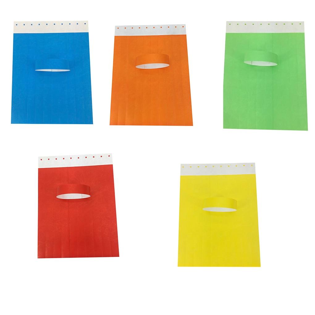 100 pièces/ensemble imperméable à leau jetable événements bracelets Non-tissé tissu papier bracelets parc dattractions billet dentrée