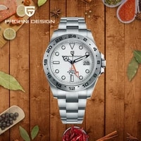 pagani design new gmt mens watch stainless steel automatic mechanical wristwatch military top explorer2 luxury waterproof clock