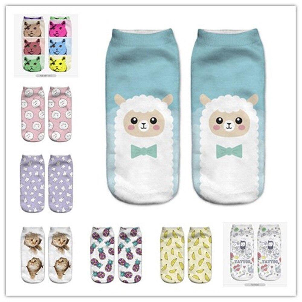 New HOT 3D Printing Women Socks Brand New Sock Fashion Unisex Christmas Socks Cat Meias Female Funny Low Ankle Femme Sock Sale