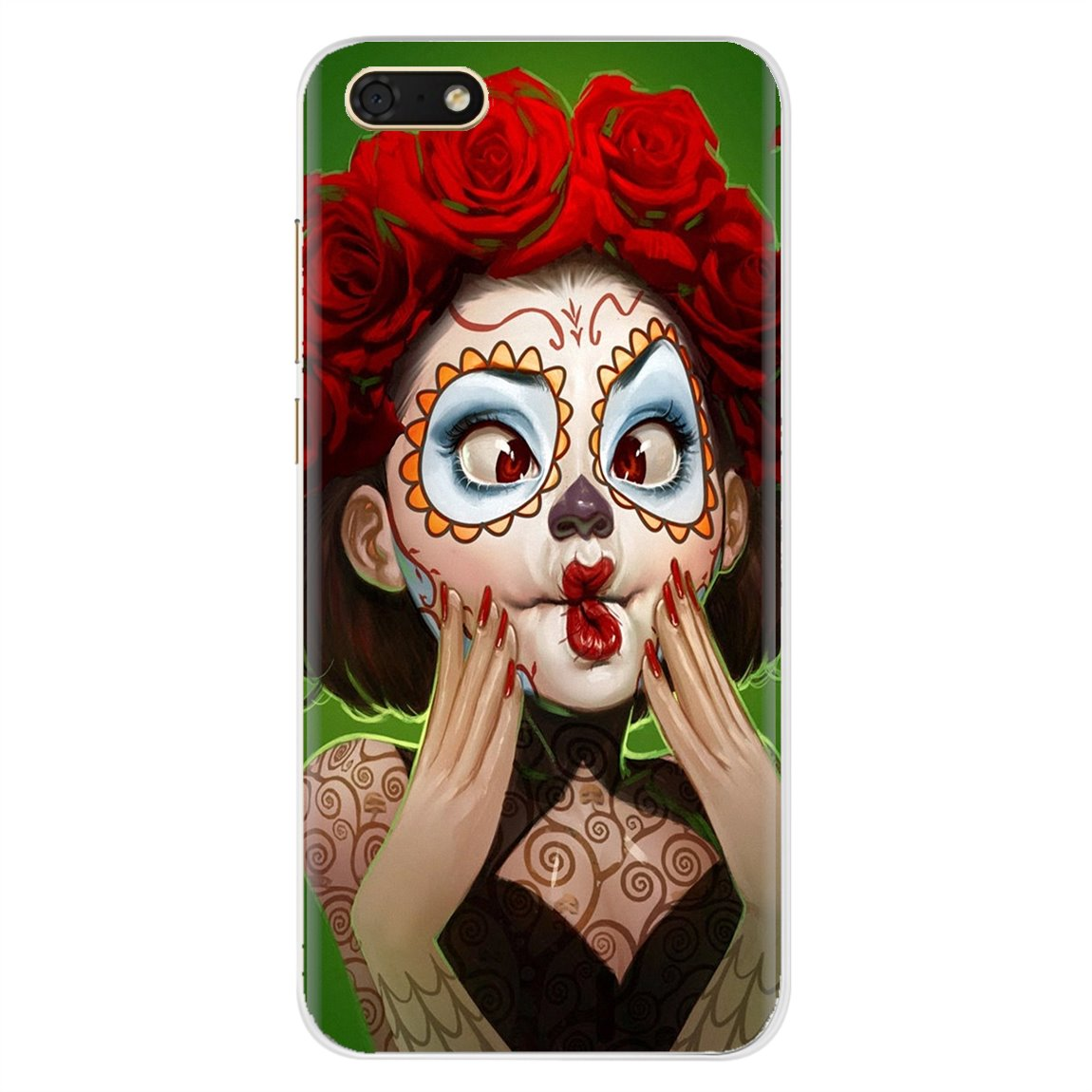 Personalizado Caso de Telefone Silicone catrina menina Flor Para Samsung Galaxy Note 2 3 4 5 8 9 S2 S3 S4 S5 Mini S6 S7 Borda S8 S9 Plus
