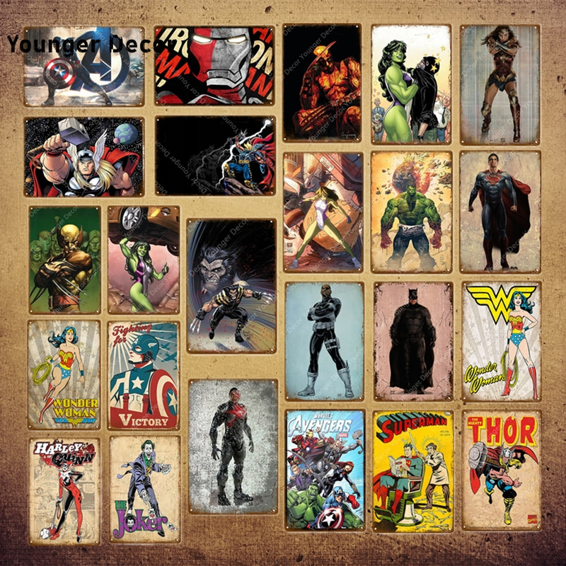 The Avengers Marvel Comics Decor Thor Hulk Captain Superman Superheroes Poster Metal Sign Plaque Sticker Wall Decoration YI-057
