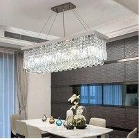 light luxury crystal chandelier restaurant lamp rectangular simple modern creative home dining room bar chandelier