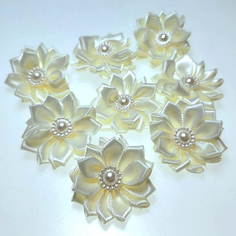 HL 20pcs 35mm Beige ribbon pearl flower handmade flowers wedding decorations DIY sewing appliques garment hair accessories  A118