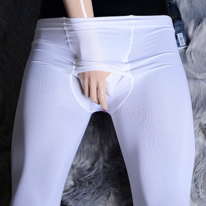 Men's Transverse Open Leggings Pantyhose Close-Fitting Keep Warm Stretch Lift Hips Velvet Knitting Solid Color Wrap Foot Pants
