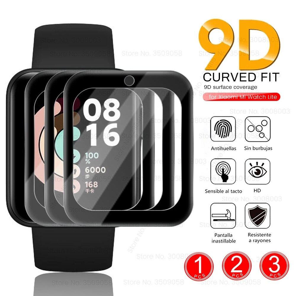 1 2 3 PCS 9D Fiber Protective Glass For Xiaomi Mi Watch Lite Smartwatch LCD Screen Protector Films C