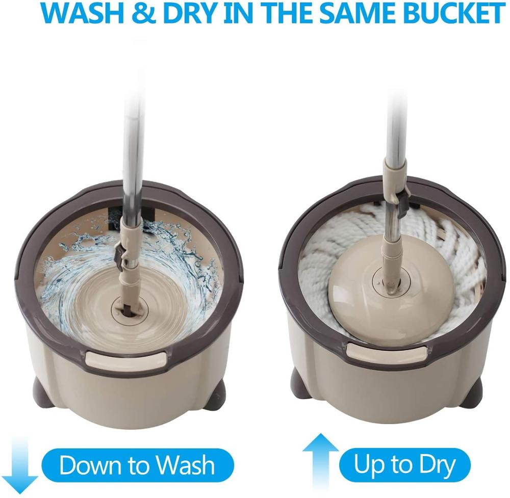 360 Degree Rotating Mop with Bucket 2 Microfibre Heads and Adjustable Handle for Home Wooden Floor Cleaning enlarge