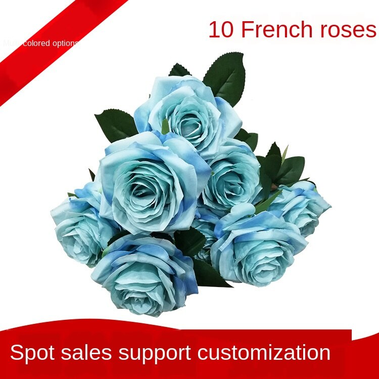 Tela de seda 10 Rosa francesa flor Artificial boda decoración del hogar flores ornamentales ramo florero Artificial