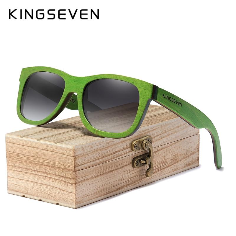 KINGSEVEN-نظارات شمسية من الخشب الطبيعي ، عدسات مستقطبة متدرجة ، عتيقة ، للسفر ، للرجال والنساء ، مجموعة 2020