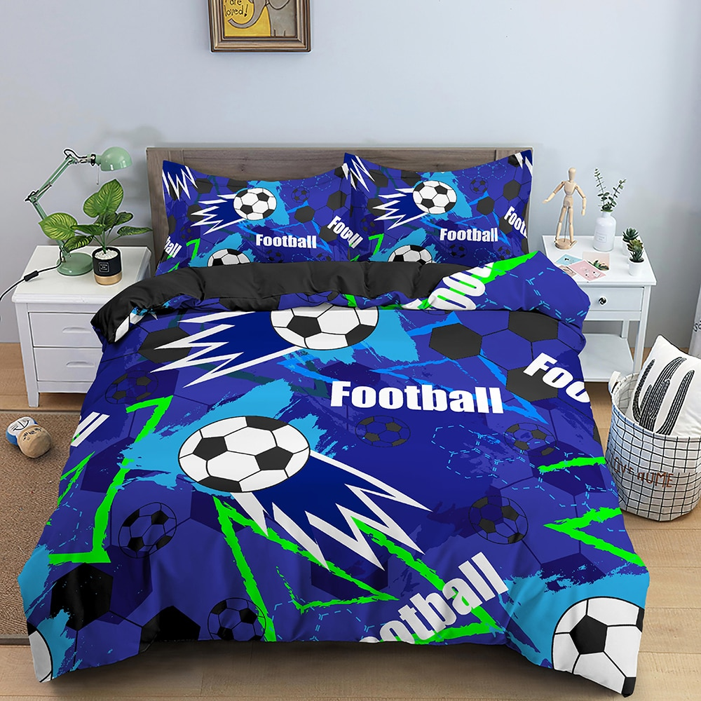 3D Colorful Football Bedding Set Soccer Duvet Cover with Pillowcase Shame Twin Kids Comforter Cover Queen King Size for Adult