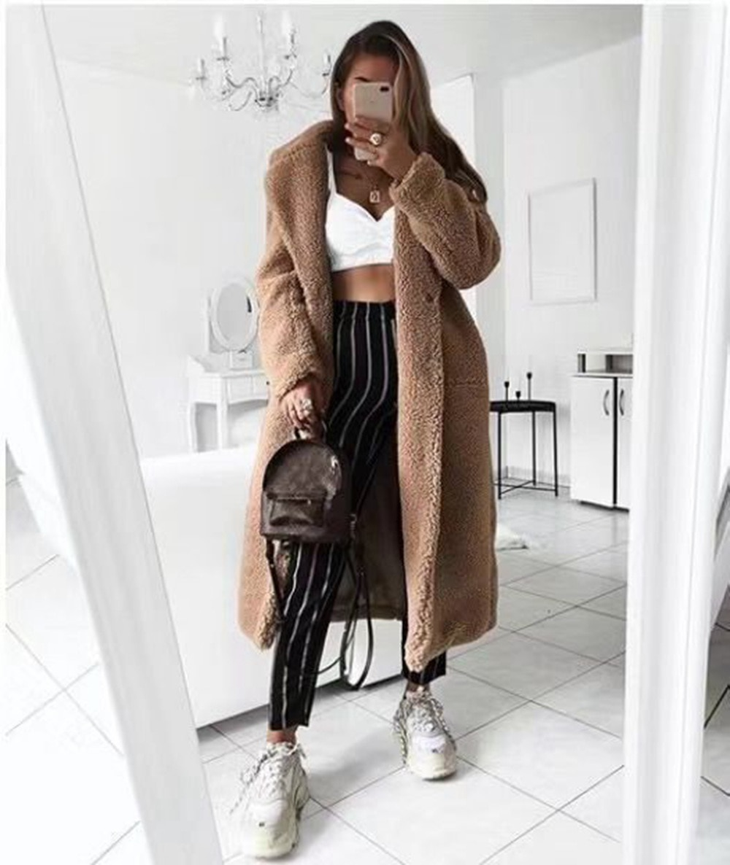 Casaco de pele do falso feminino outono casaco de inverno 2020 casual sólido longo feminino vintage jaquetas de pelúcia chaqueta mujer