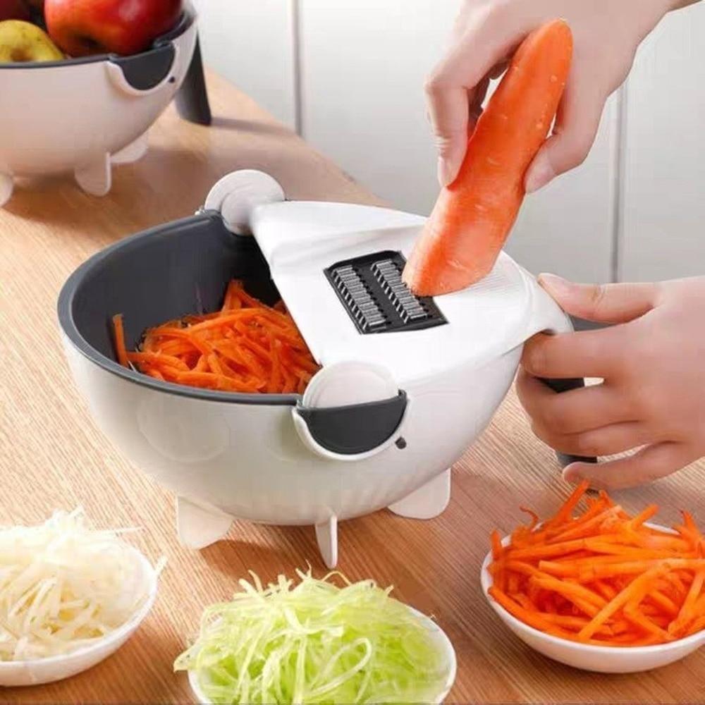 Multifonctionnel manuel trancheuse drain bol légumes coupe cuisine gadgets chopper râpe avec panier de vidange rotatif MJ711
