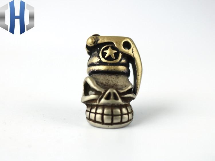 EDC Knife Beads Brass  Man Skull Lanyard Bead Paracord Knife Tool Pendant Knife EDC Tools