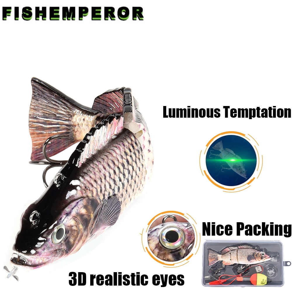 Robotic Fishing Lures Multi Jointed Bait 4 Segments Auto Electric Wobblers For Pike Swimbait USB Rechargeable LED Light Swimming