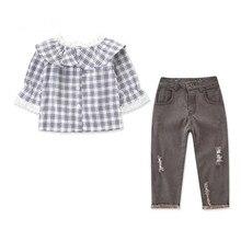 DFXD-ensemble vêtements gris pour petites filles   T-shirt, col claudine, en dentelle, carreaux, col claudine, ensembles pantalons, slim, déchiré, 2-7T