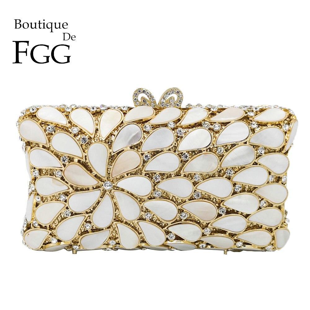 Boutique De FGG-حقيبة يد نسائية من الكريستال الأبيض ، وحقيبة سهرة أنيقة ، وحقيبة كوكتيل ، وحفلات الزفاف