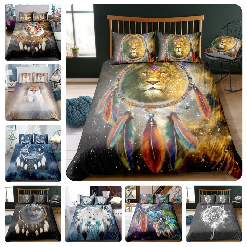 3d Digital Printing Indian Style Comforter Bedding Sets Queen Duvet Cover 3 4 Pcs Animal Wolf Lion Pattern Bed Ropa De Cama Leather Bag