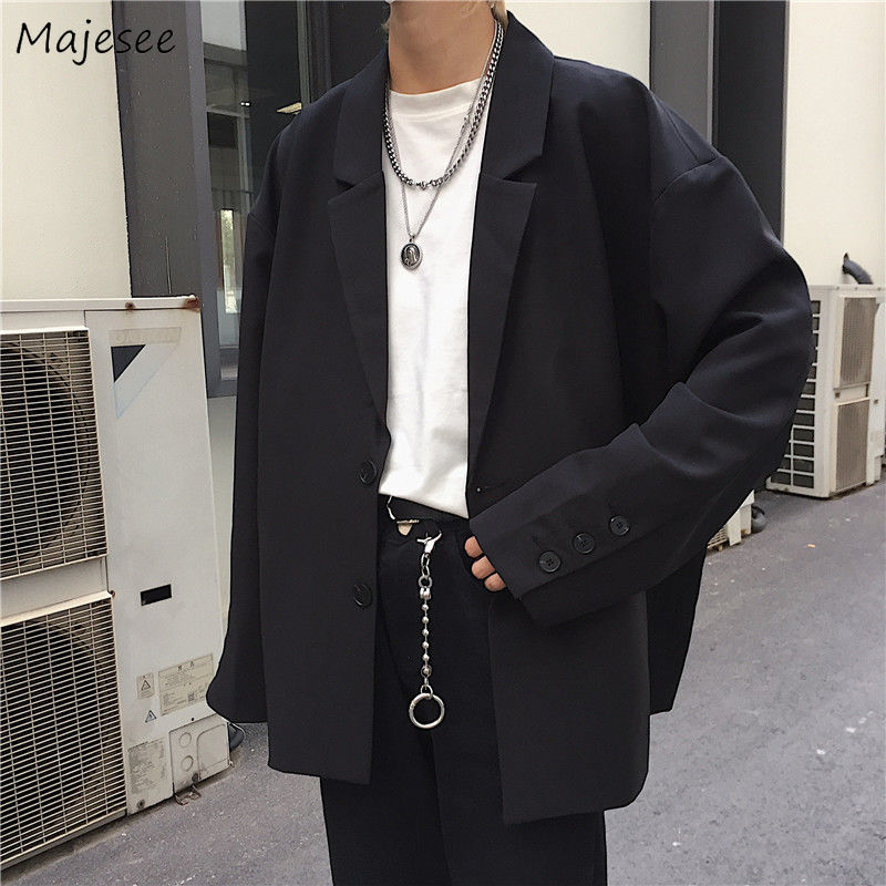 Men Solid Black Blazers Autumn Single Breasted Korean Chic Casual Oversize Mens Outwear Pockets Ins