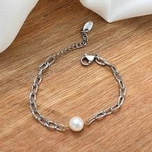 2021 Fashion Chain Bracelet Freshwater Pearls Stainless Steel Oval Links Minimalism Jewelry Wholesal