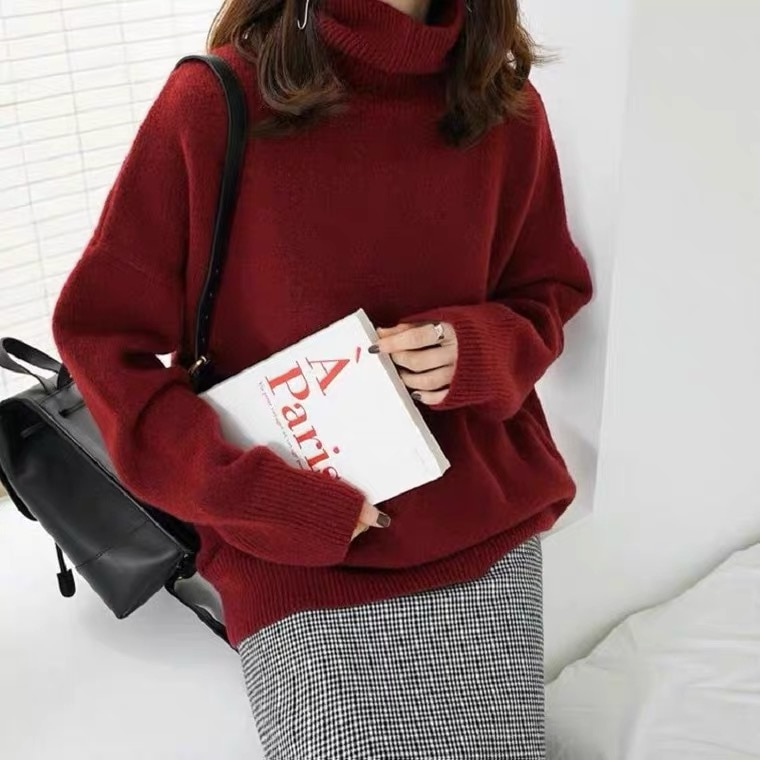 Turtleneck Sweater Female Autumn and Winter Thickening Top dui ling Pullover Loose and Lazy Style Ou