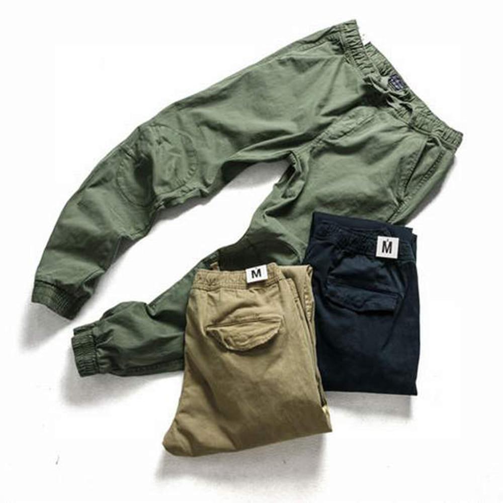 Брюки-карго мужские в стиле милитари, повседневные однотонные армейские штаны, мягкая уличная одежда, хлопковые джоггеры, темно-синие хаки