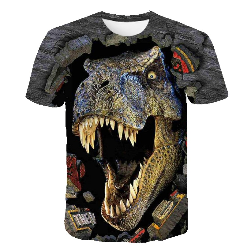 Dinosaur Series T Shirt Baby Boys Tshirt Cartoon Animal Wolf Printed Kids Clothing Girls Tops Tee Children Clothes 4 to 14 Ys
