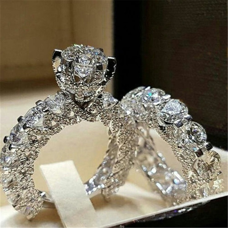 2 pçs/set nova moda bonita europeu e americano redondo cristal seis-garra incrustada anel de casamento conjunto de jóias de noivado conjunto