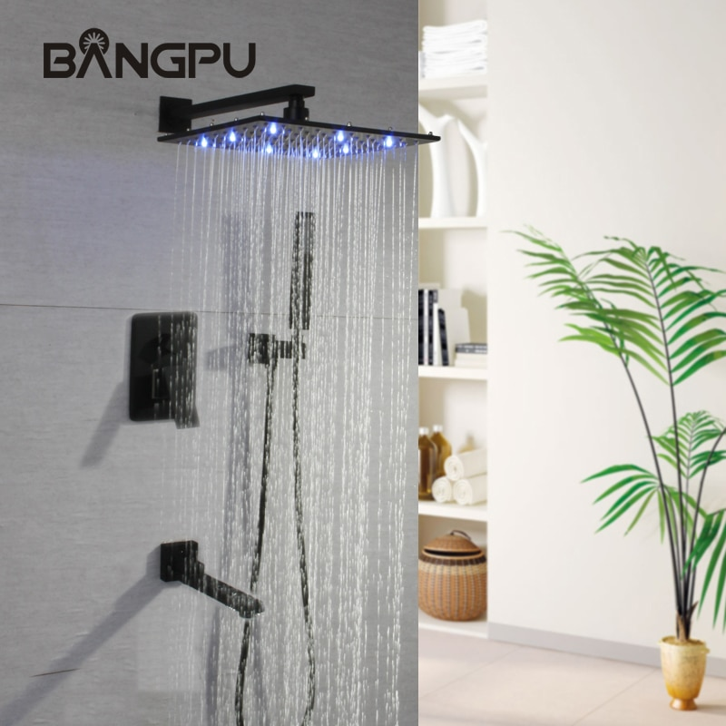 BANGPU LED أدوات دش مع يده دش مجموعة الأمطار الحمام دش Mlitfunction الحمام دش رئيس مسألة الأسود Bross