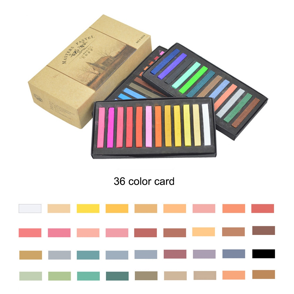 Students Painting Crayons Soft Pastel 12/24/36/48 Colors/Set Art Drawing Set Chalk Color Crayon Brush Stationery for Students enlarge