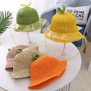 Children Anti-spitting Protective Hat Handmade Straw Sun Hat Kids Transparent Face Protective Fisherman Hat