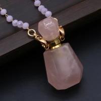 hot selling natural semi precious stone rose quartz geometric perfume bottle pendant free two glasses stone chain accessories