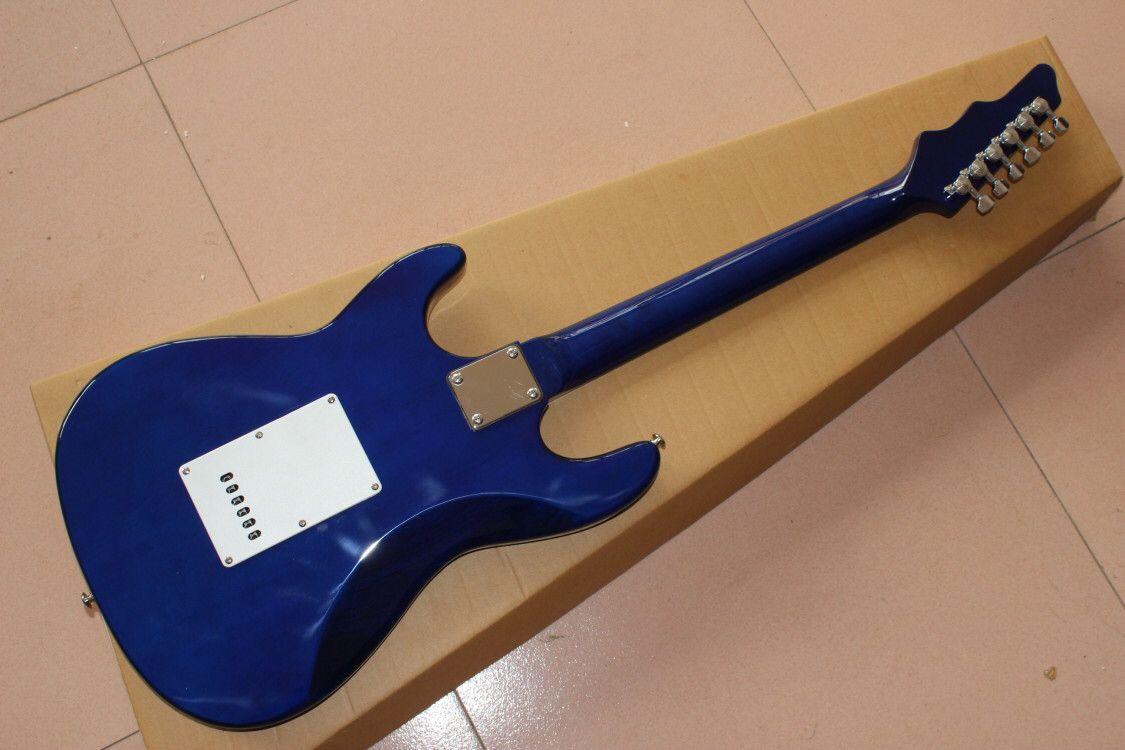 New style.Blue color electric guitar.high quality pickups gitaar,handmade 6 stings guitarra,rosewood fingerboard. enlarge