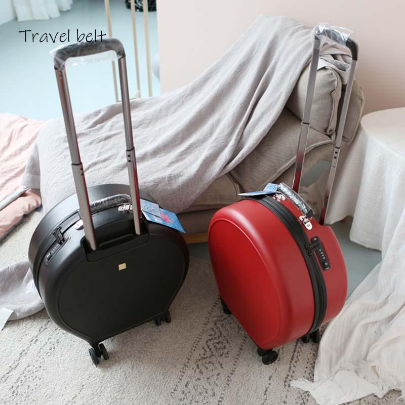 Moda mujer equipaje rodando redondo Spinner 20 pulgadas de alta capacidad contraseña cabina maleta ruedas bolsas de viaje