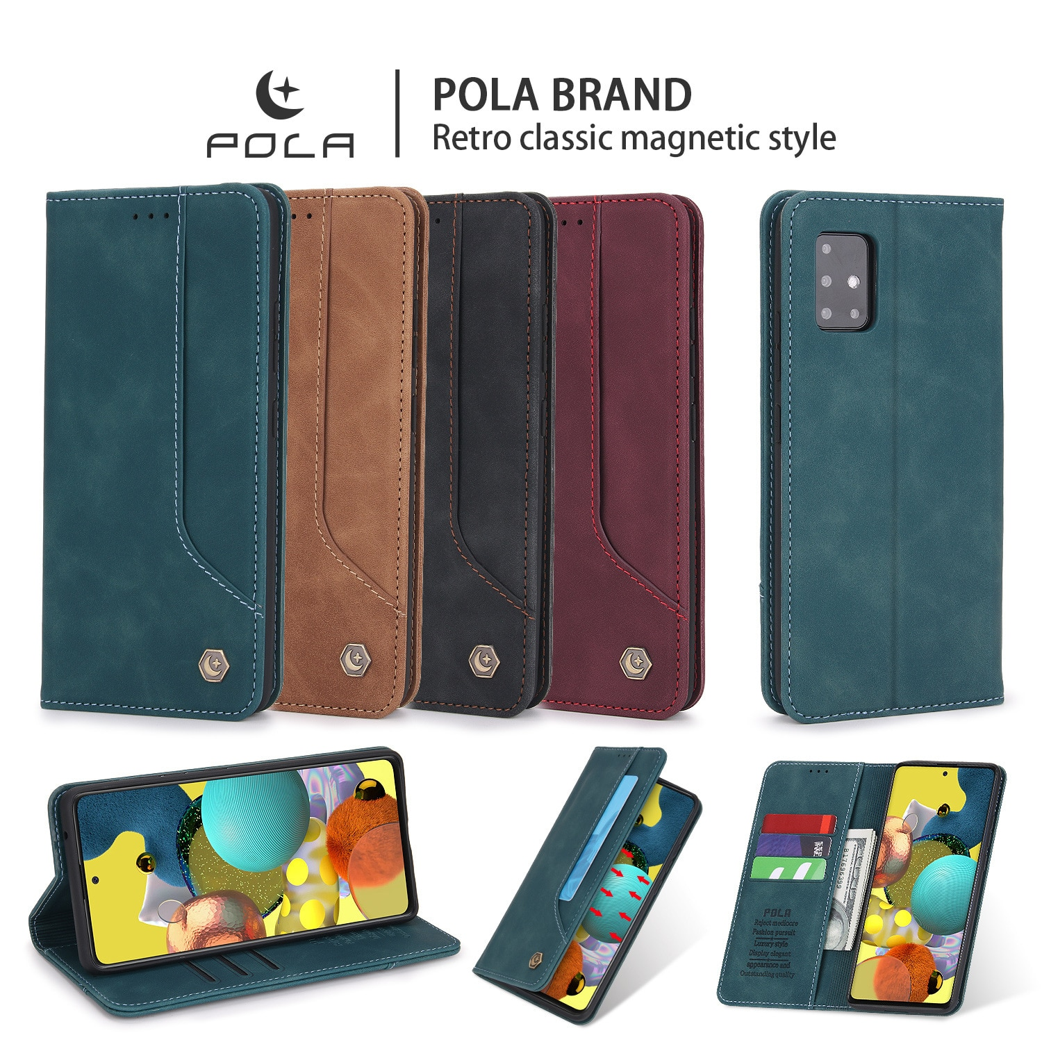 Luxury PU Leather Flip Wallet Case For Samsung Galaxy A12 A32 A42 A52 A72 A51 A71 5G Protective Card Holder Protective Cover