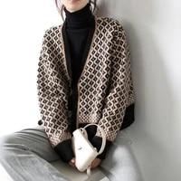 2020 autumn and winter korean retro temperament contrast knit cardigan womens v neck rhombus thick female loose coat sweater