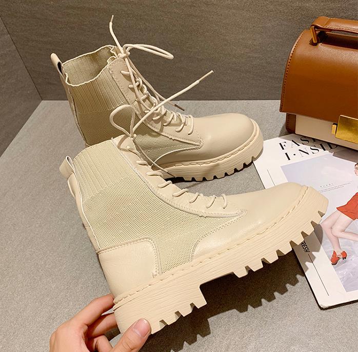 حذاء من الجلد للنساء 2020 الخريف دراجة نارية أحذية كعب سميك platfoankbrm أحذية امرأة الانزلاق على أحذية مستديرة اصبع القدم الموضة
