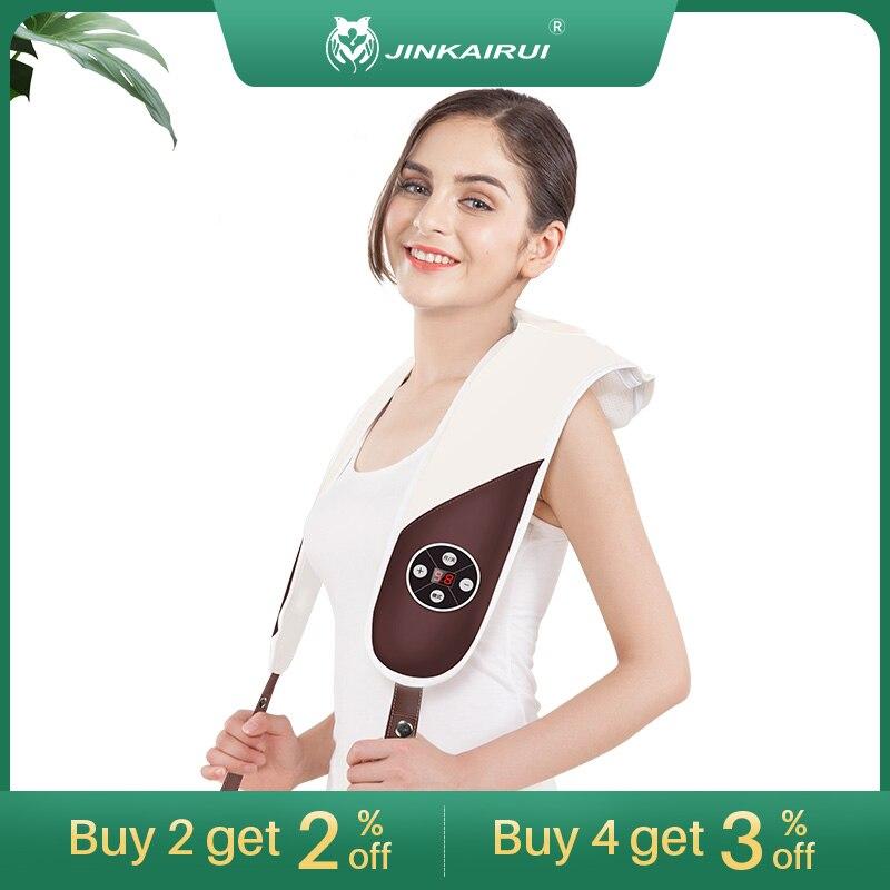 Jinkairui, masajeador eléctrico multifunción para dar golpes en la espalda, mantón de masaje Cervical para el cuidado del cliente, para relajarse y masajear