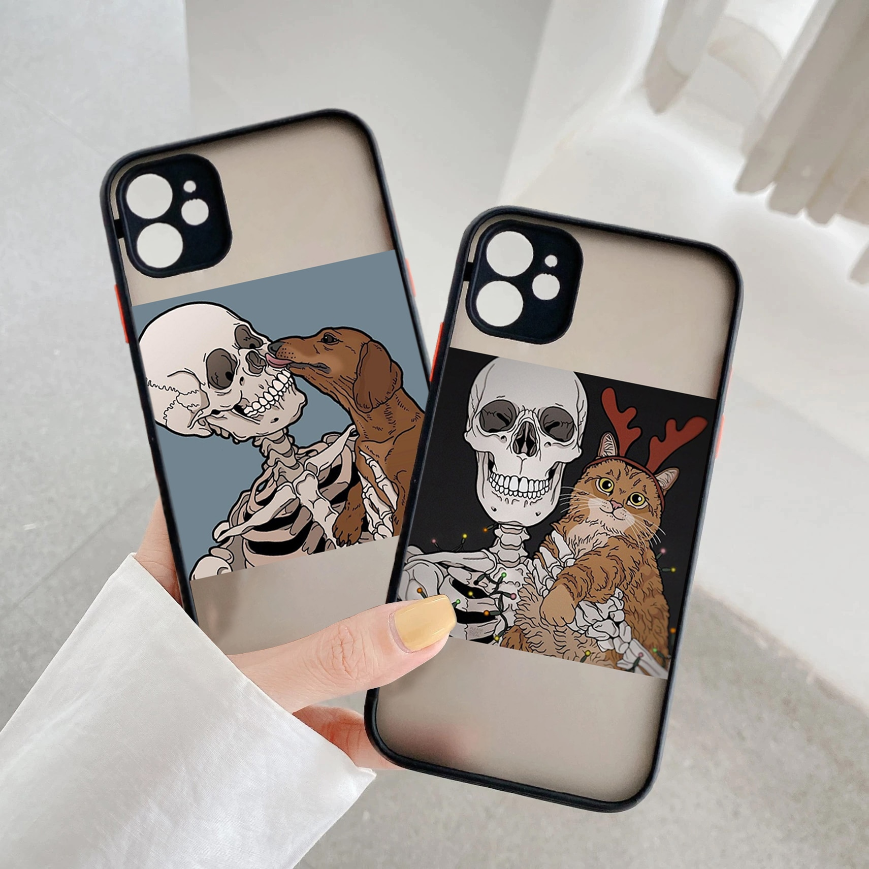 Funny Halloween Skeleton Cat dog Matte Hard PC Phone Cases Cover Shell For iPhone X XR XS 11 12 Pro