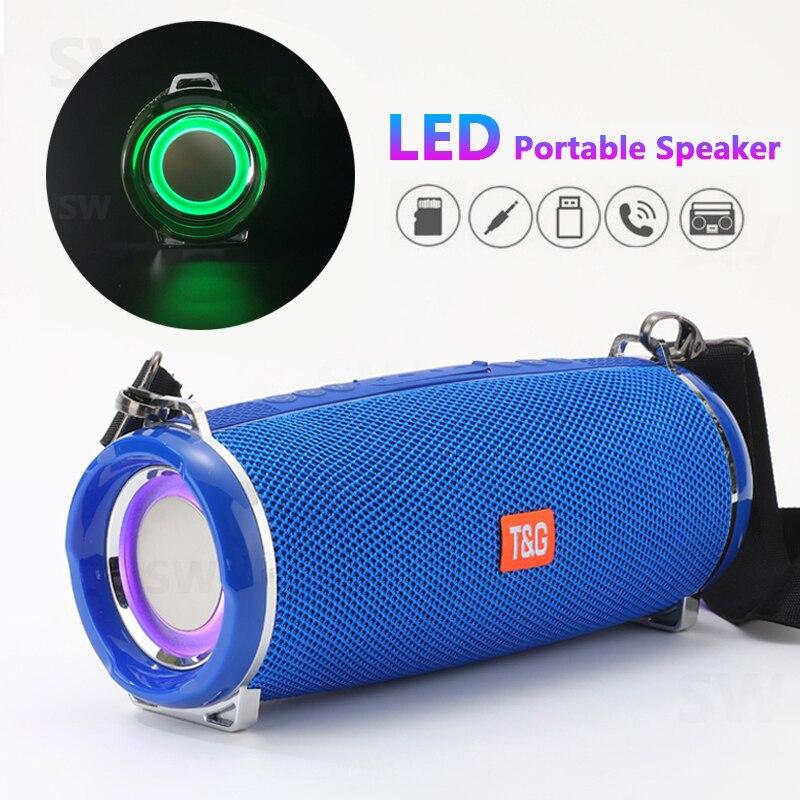 TG192 LED وامض ضوء بلوتوث المتكلم المحمولة 20W اللاسلكية باس العمود 3D ستيريو الموسيقى مركز مضخم الصوت مكبرات الصوت من FM TF USB