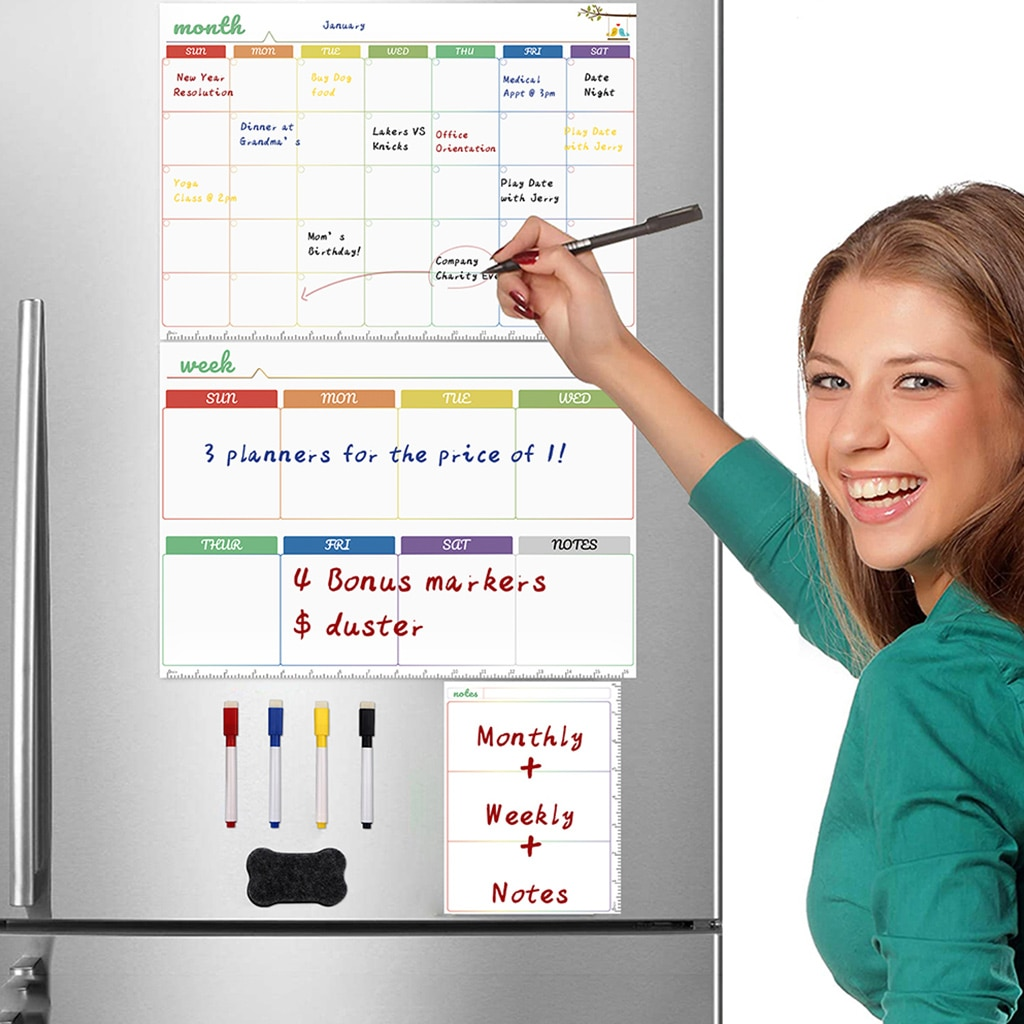 Magnetic White Board Kit Daily Weekly Monthly Planner Calendar Fridge Magnet Drawing Pen Erase for Wall Refrigerator