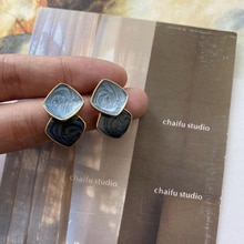 Chaifu Studio /E928 French Simplicity Artistic Blue Color Irregular Texture Beautiful Square Stud Ea