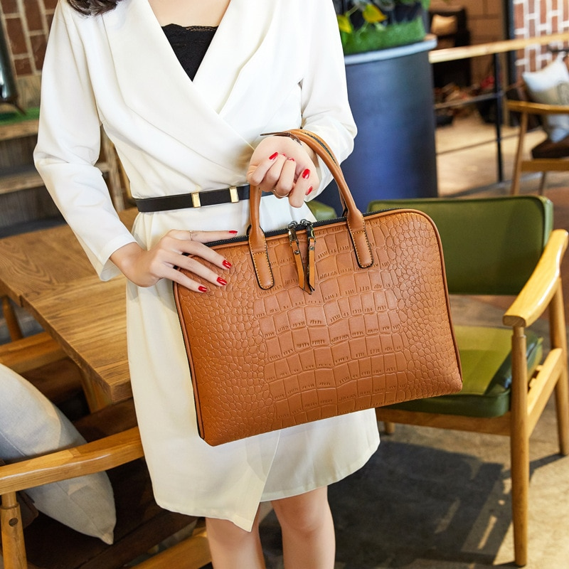 Business Women Briefcase Leather Handbag Woman Casual Totes14.1 15.6 Inch Laptop bag Shoulder Office Bags For Ladies Briefcases