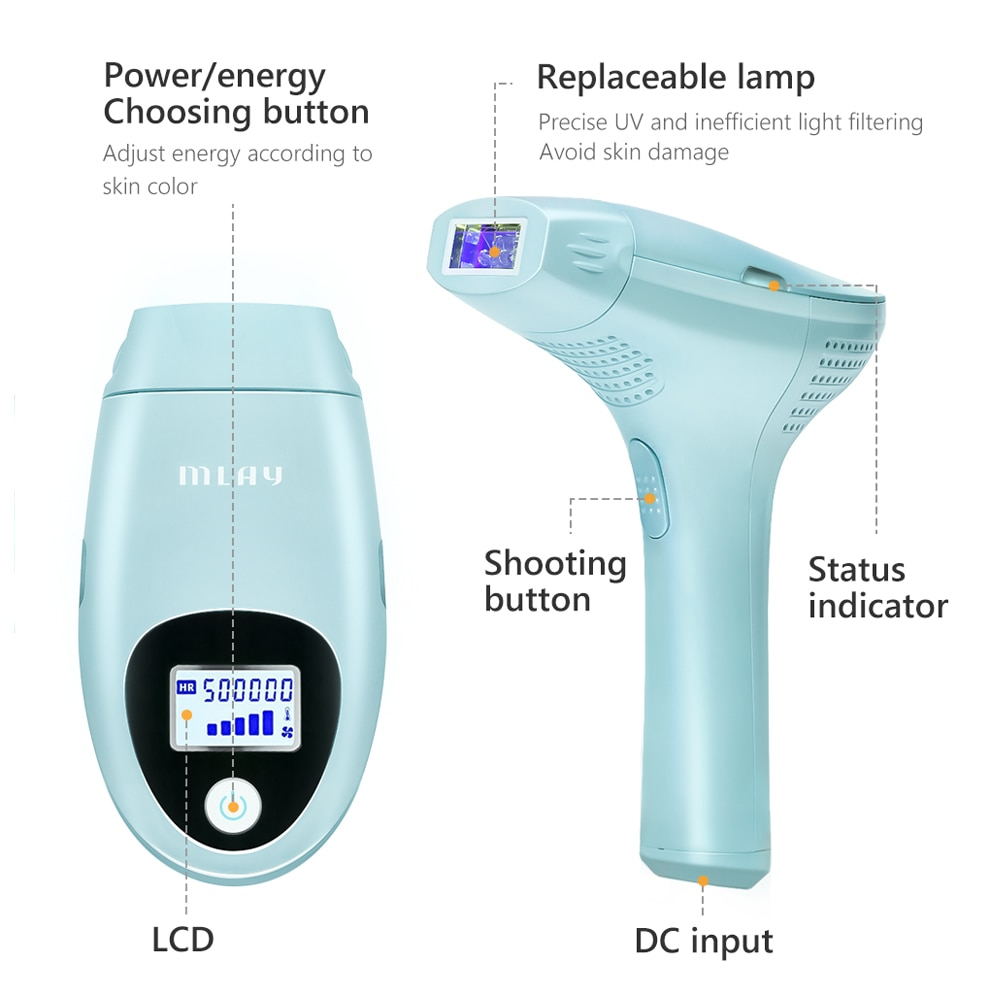 Mlay Laser Hair removal Epilator Machine IPL Permanent Hair Removal Device Face Body Electric depilador a laser 500000 Flashes enlarge