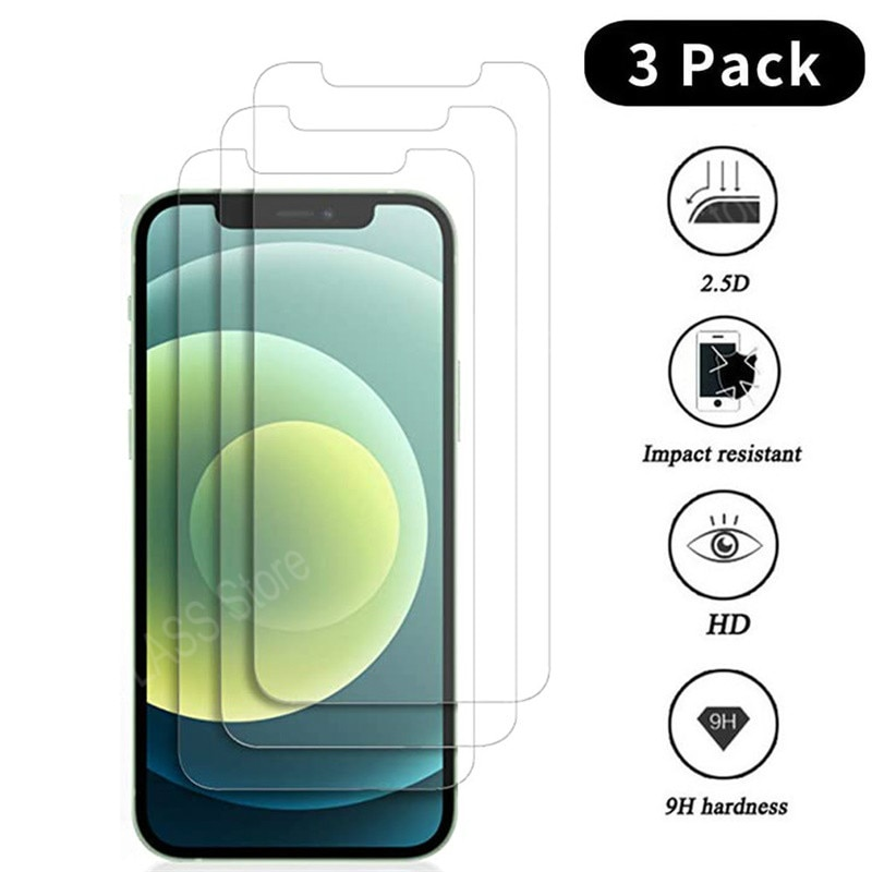 3PCS Protective Glass on For iPhone 11 12 Mini Pro Max screen protector Tempered glass For iPhone 6 S 7 8 Plus X XR XS Max Glass
