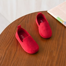 Candy Colors Girls And Boys Shoes Slip-on Soft Leather Casual Sneakers Flats Children Kids Comfortab
