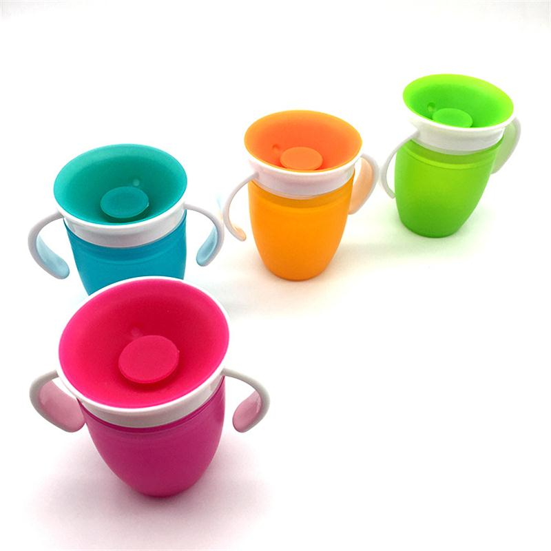 Baby Cups Rotated Baby Learning Drinking Cup With Double Handle Flip lid Leakproof Infants Water Cups Bottle 240ML Learning cup